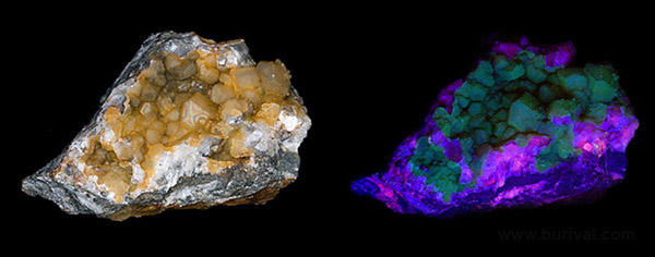 Calcite covered by chalcedony from Vlastejovice, Czech republic in visible and UV light