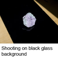 Cobaltocalcite on the black glass background