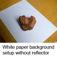 Photographing on white paper background in daylight