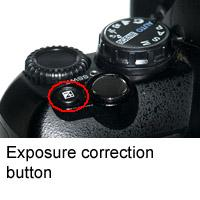 Exposure correction button on DLSR