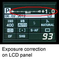 Exposure correction settings on LCD panel