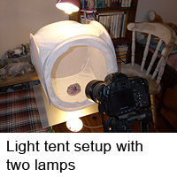 Light tent setup with two lamps