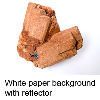 Feldspar on white paper background