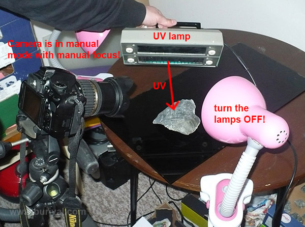 Setup for shooting photos in UV light