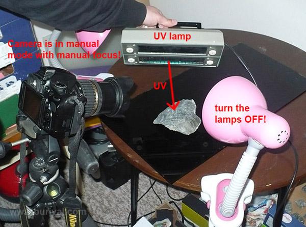 Setup for shooting photos in UV light
