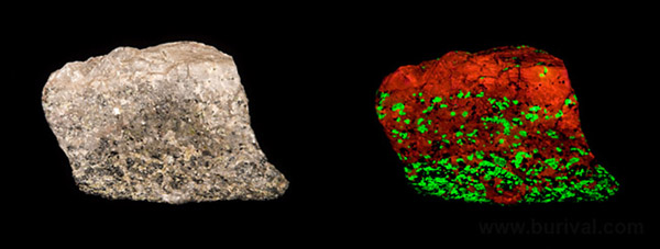 Typical Franklin, New Jersey calcite and willemite UV fluorescence